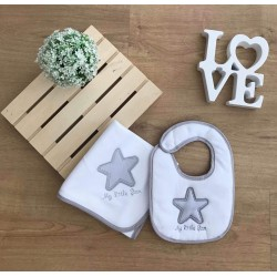 "Conjunto fralda e babete ""my little star"""